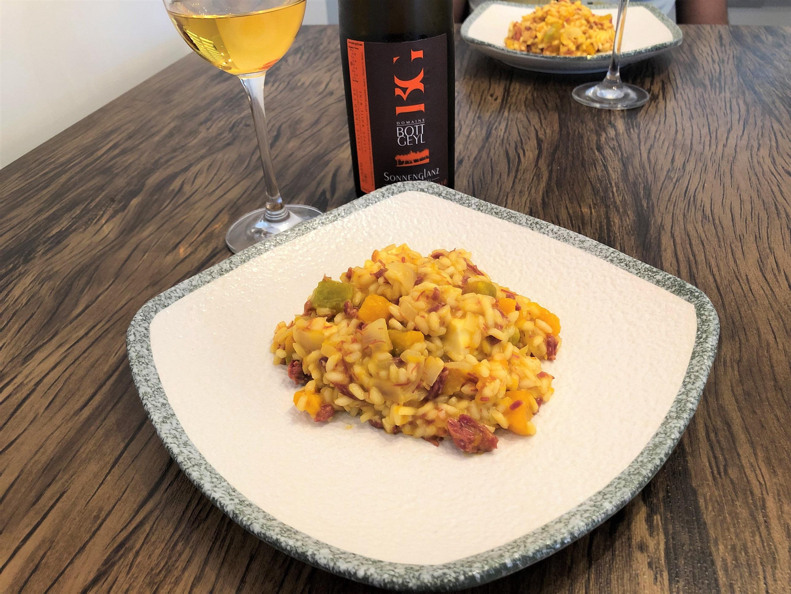 Harmonização vinho branco risoto de abobora com carne seca
