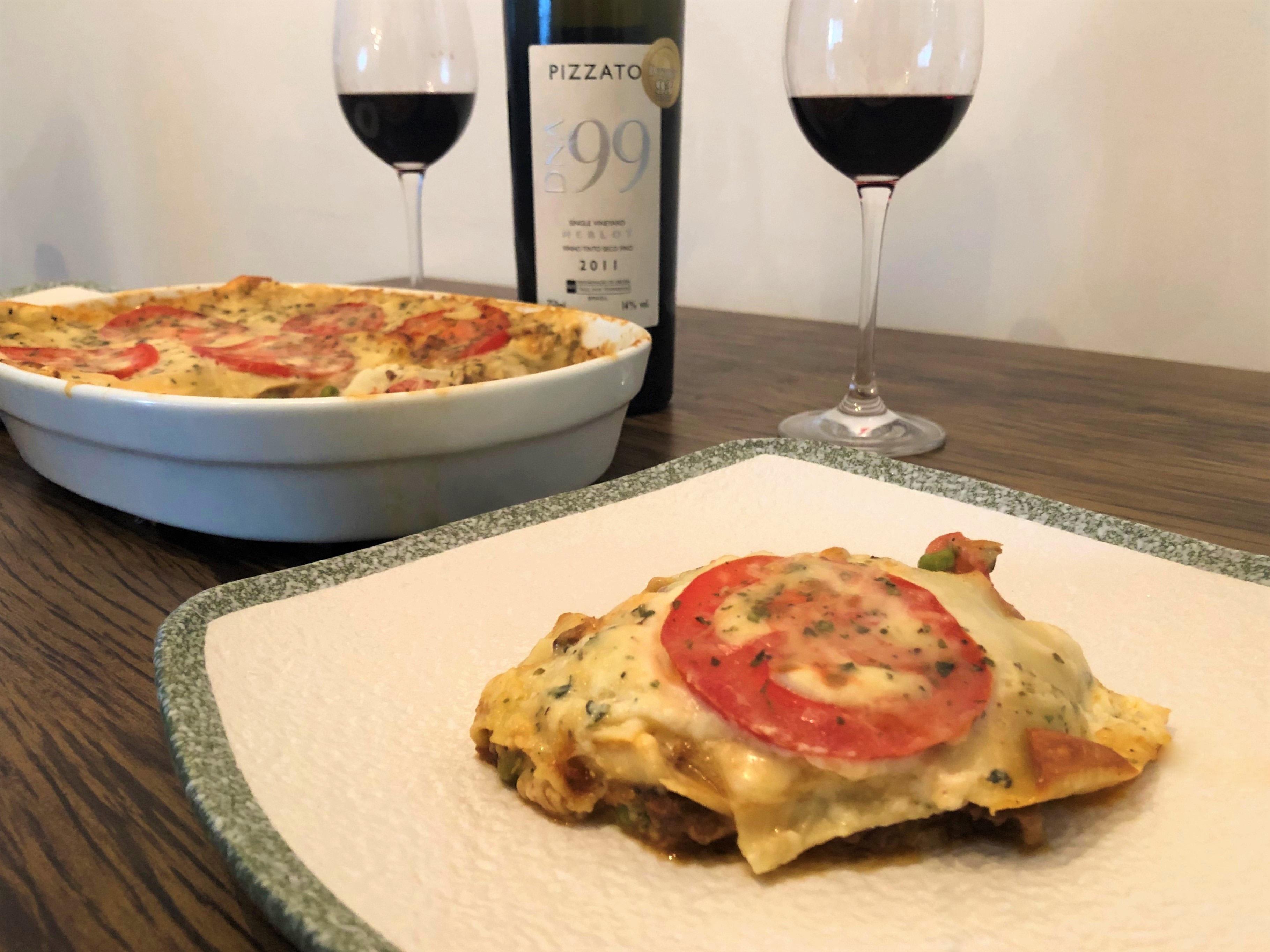 Harmonização lasanha de carne de panela vinho