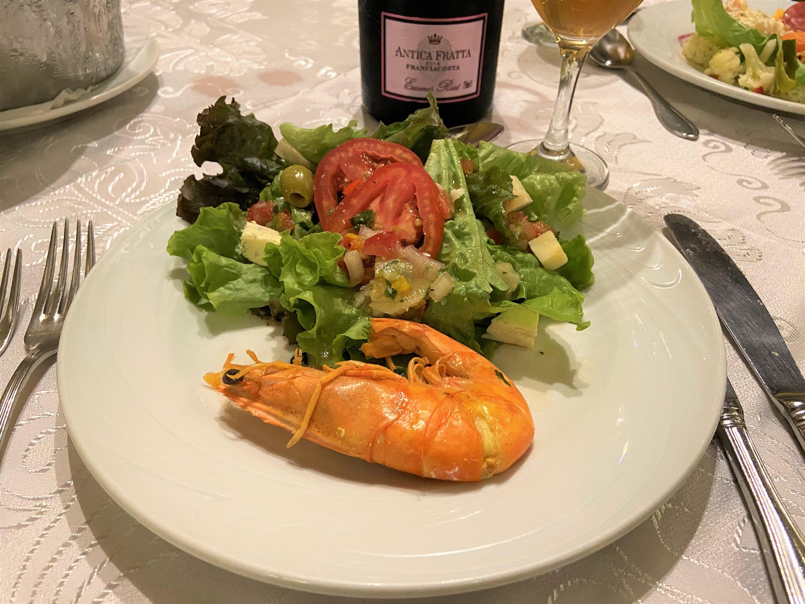 Espumante salada camarão